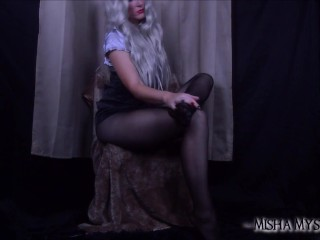 Teasing in Sheer Black Pantyhose - pantyhose fetish nylons long legs tease