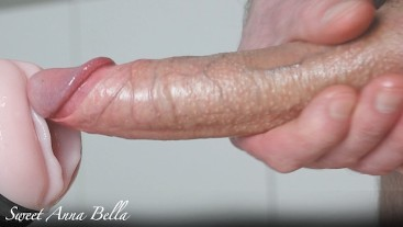 Big white oiled cock fuck Fleshlight and cum inside in slowmotion