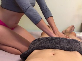 sensual massage  makes me grind his cock until he cums (oily & wet)