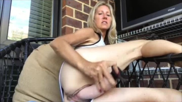 Fuck mature nice Fuck pussy with dildo on balcony