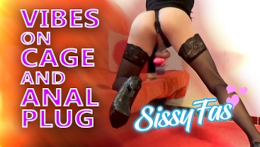 Sissyfas::Vibes on chastity cage and anal plug, HORNY!!