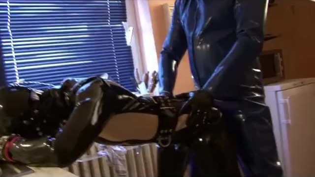 Girls sleeping gas sex - Young rubber slave girl fully rubberized gagged with latex gas mask fucked