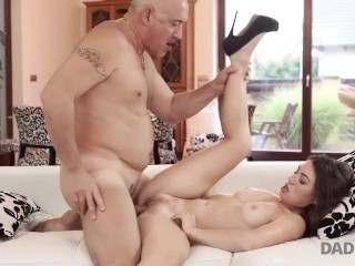 DADDY4K. Teen Tiffany Doll gives blowjob to mature man