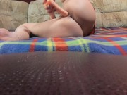 Relaxing blonde and playing with toy ridding and fuck