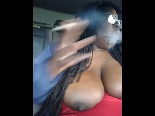 Smoking with my titties out, almost gets caught by neighbor(part 2)