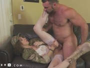 GenderX - TS Army Girl Lily Demure Fucked By Cis Guy