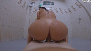 Fucked a neighbor in the Dorm in a public shower and cum throatpie
