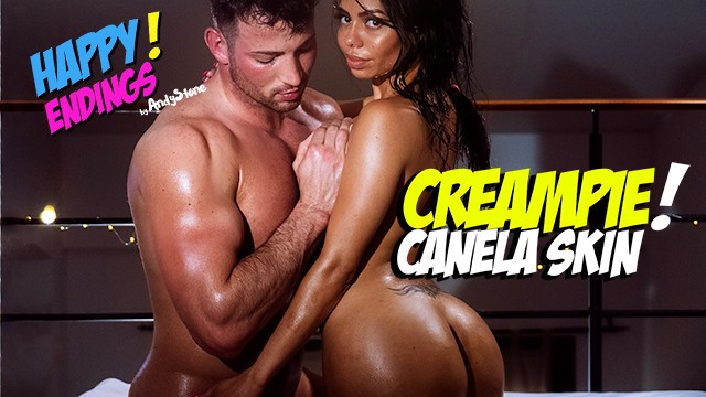 Canola oil anal sex - Creampied canela skin enjoys a hot happy ending massage