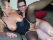 German Stepmom Help Huge Cock Virgin Boy with First Fuck