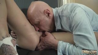 Sexy young nurse gives handjob and blowjob to grandpa