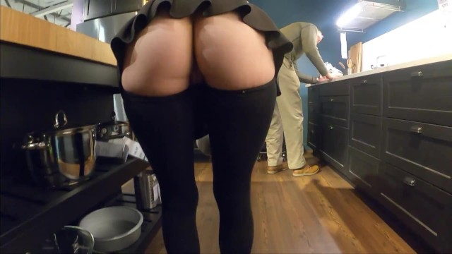 Naked girls skirts - Teaser - ass popping out of my mini skirt - store flashing