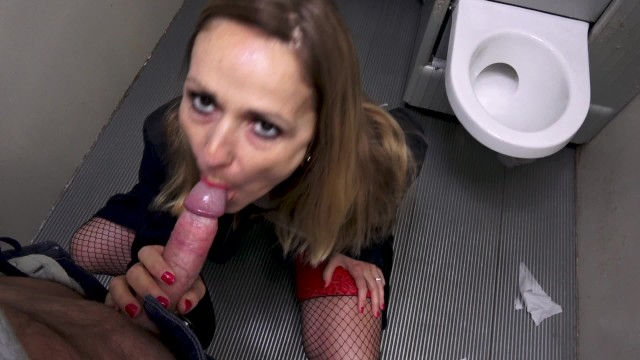 Condom girl using Milf prostitute who gets fucked in public toilet without condom