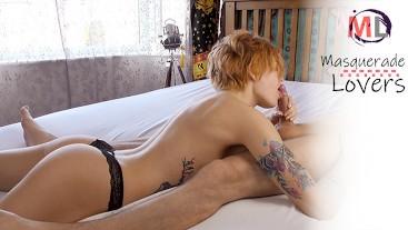 PERKY TEEN gives her bf SLOPPY MORNING BJ!!!