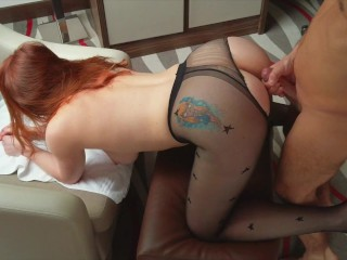 Ripped Pantyhose Pale Ginger Redhead PAWG Teen Hairy Pusyy Creampie Doggy
