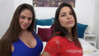 Two mean cockteases double-team a dildo while you watch