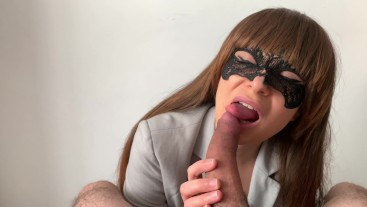 Emma sucks her boss's cock and takes his cum in her mouth! 4k ULTRA HD!