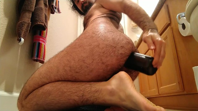 Hairy bears gay interracial sex tube - How to fuck a wine bottle: hairy dude rides wine bottle hard deep anal