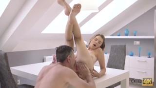 OLD4K. Marina Visconti with natural boobs makes love to old male