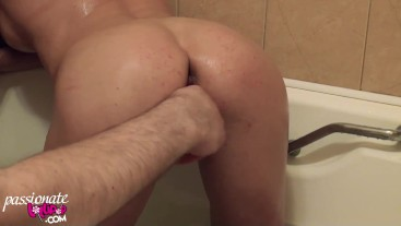 Horny MILF Fingering Pussy and Blowjob in the Shower - Golden Shower