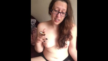 Topless Goddess D Smoking and Talking to you Lovely Followers! Perky Tits