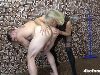 Mature Blonde takes them All in one Shot