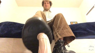 Alpha Stomps & Bends Homo's Cock With Boots CBT