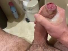Guy Edging His Fatty Big Uncut Cock