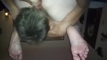 Facefucked by a redhead w/ big tits 69 eating her  ass too !