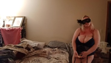bbw masquerade lingerie with strap on surprise