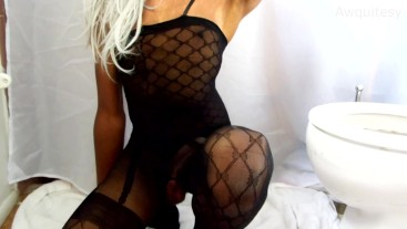 Sexy Teen Ladyboy Puts on Lingerie Bodysuit Poses Cums then Fingers Anus!