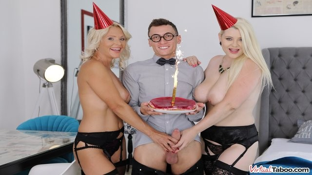 Bbw kathy in stockings Virtual taboo - happy birthday: threeway and anal from two blondes
