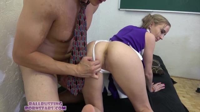 Busty college cheerleader College cheerleader upskirt ballbusting and cock-biting blowjob sex