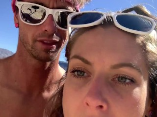 Sparks Go Wild Hiking and fucking in thongs in public Lake Mead
