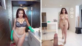horny latina maid give blowjob