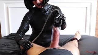 Femdom misstress diary 1:big cock pump torture extreme hands free cumshot