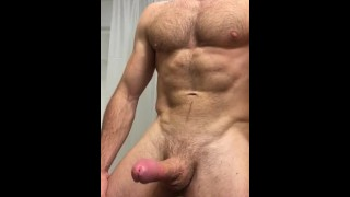 Pulsating cock as stud shoots his load