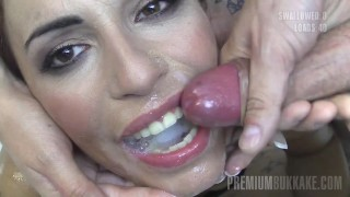 Premium Bukkake - Silvana swallows 58 huge mouthful cumshots