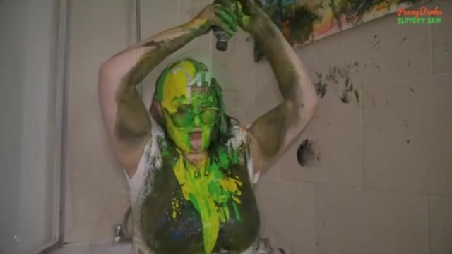 Dried latex paint clothes wash Bbw covers herself in paint from head to toe sploshing