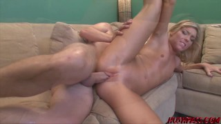 Luscious blonde Ally fed whitezilla before hard banging
