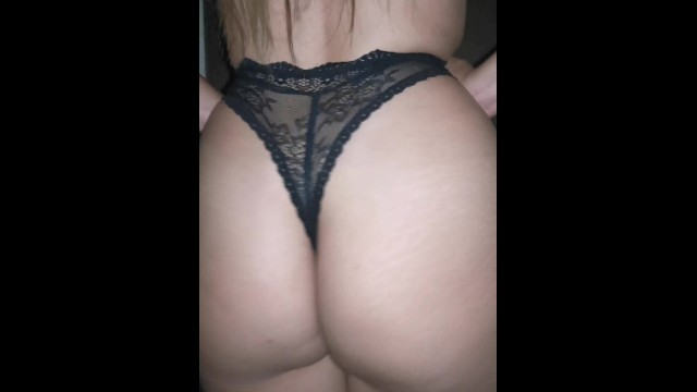 Teen in thong fucks - Fucking in quarantine with sexy lace thong and black lingerie