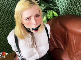 Schoolgirl Facefuck and Hard Doggystyle Fuck - Bondage Sex
