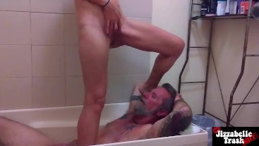 Amateur couple piss on each other