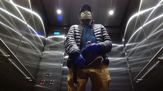 Jerk off in elevator Elevator jerking off during coronavirus cums big