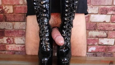 Femdom mistress diary 2: cock crush kicking CBT rough bootjob cum on boots