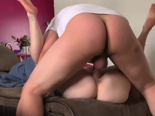 Stretched,pounded and creampied on the couch.Ball slapping Missionary&Doggy
