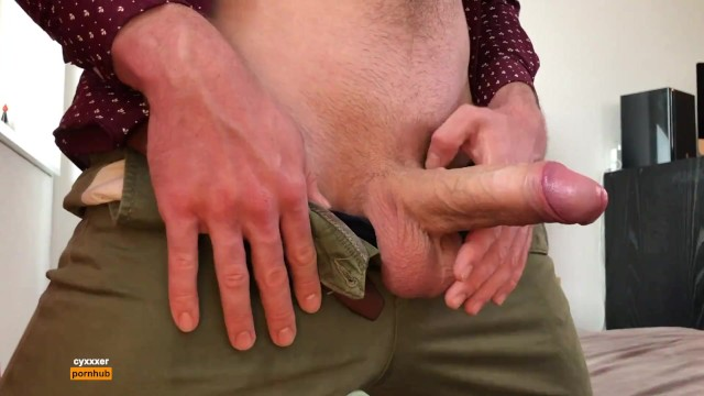 Men touching tits - Horny guy touching his big dick in pants - cumshot - moaning