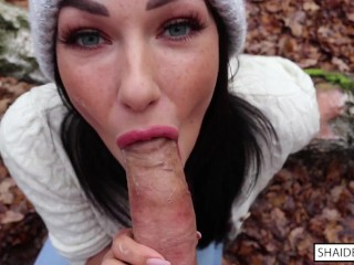Freckled Teen SUCKS & SWALLOWS in the Woods – Shaiden Rogue