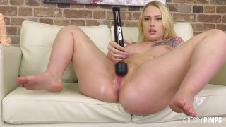 Curvy Blonde Babe Fucks A Sybian After Toying With Her Pink Twat