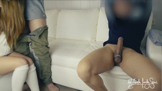 Cuckold threesome Tied husband eats best friend's cum from wife's pussy