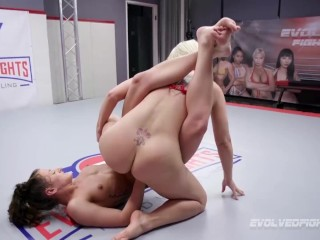 Helena Locke fights Dakota Marr in lesbian wrestling with strapon fucking